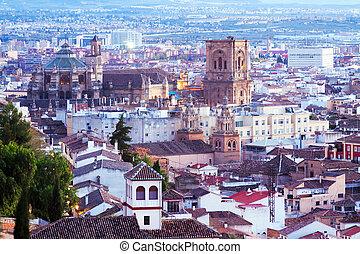 Top view of Granada in twilight