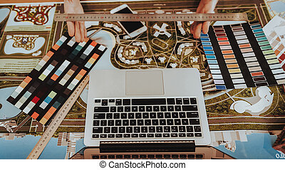 Top View of Graphic Designers Workplace Stuff