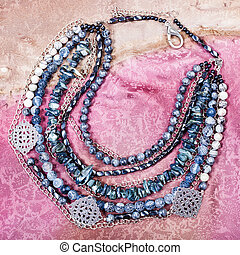 top view of gray blue necklace from gemstones