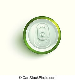Top view of green aluminum soda or beer can mockup.