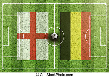 top view of green soccer field with flags of England and Belgium