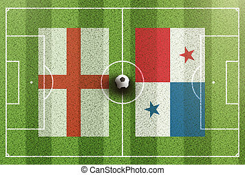 top view of green soccer field with flags of England and Panama
