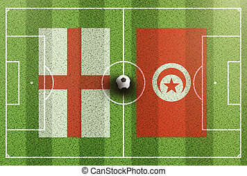 top view of green soccer field with flags of England and Tunisia
