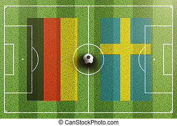 top view of green soccer field with flags of Germany and Sweden