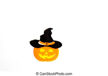 Top view of Halloween crafts, pumpkin on white background with copy space for text. halloween concept. Flat lay, mockup, top view, overhead