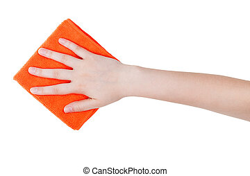 top view of hand with orange wiping rag isolated