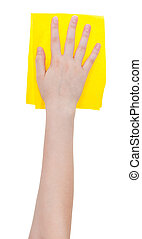 top view of hand with yellow wiping rag isolated