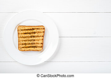 Top view of Healthy Sandwich toast on a wooden background