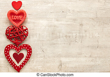 Top view of heart with copy space on wooden background