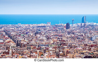 Top view of historic district in Barcelona