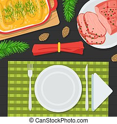 Top View of Holiday Festive Table, Christmas Table Decorating Setting with Traditional Dishes Flat Vector Illustration