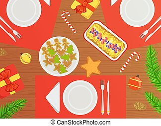 Top View of Holiday Festive Table, Traditional Christmas Dishes Flat Vector Illustration