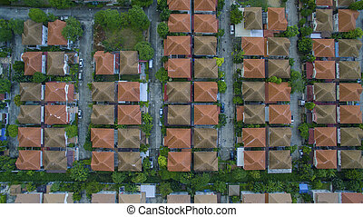 top view of home village roof in land management bangkok thailand