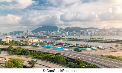 Top view of Hong Kong at day time, View from kowloon bay downtown timelapse