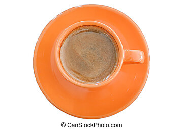 Top view of hot coffee on white background
