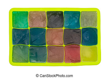 Top view of ice cubes in different colors