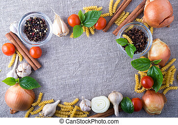 Top view of ingredients and spice for food at the kitchen
