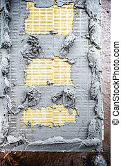 top view of insulation panel of mineral wool, rock wool with...