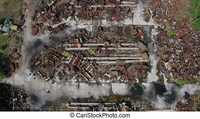 Top view of iron trash dump in Chernobyl zone - Aerial shot...