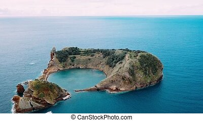 Top view of Islet of Vila Franca do Campo is formed by the...