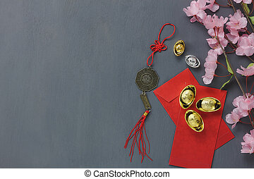 Above View Of Top Decoration Happy Chinese New Year Background