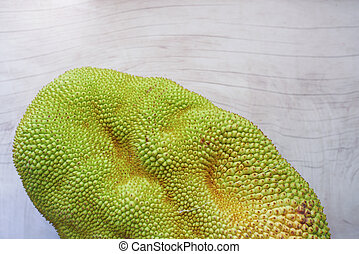 top view of jackfruits in a bowl on table.
