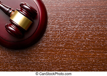 judge gavel - top view of judge gavel on wooden background