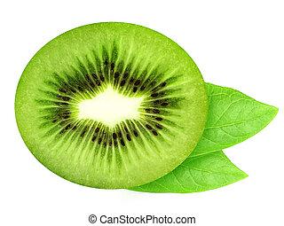Top view of juicy half of kiwi and leaves.