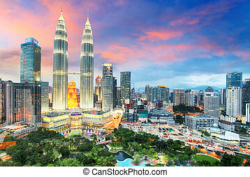 Top view of Kuala Lumpur skyline at twilight