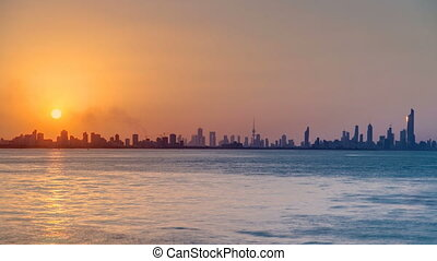 Kuwait cityscape during the sunset timelapse - Top view of...