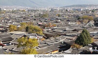 Top view of Lijiang old town in early morning, Yunnan, China.