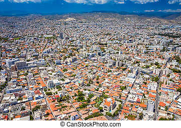 Top view of Limassol city center, Cyprus.