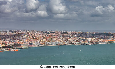 Top view of Lisbon timelapse with sailboats - Aerial view...