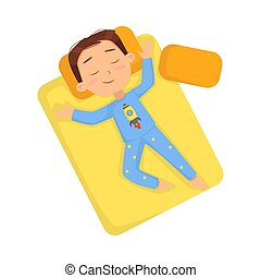 Top View of Little Boy Sleeping Sweetly in his Bed, Bedtime, Sweet Dreams of Adorable Kid Concept Cartoon Style Vector Illustration