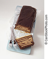 Top view of loaf-shaped chocolate cake