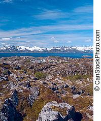 Top view of Lofoten island Skrova in Norway