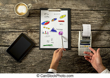 Top view of male accountant doing calculations using adding machine as he doodles various graphs, charts and calculations on a piece of paper in front of him