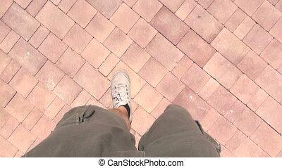 top view of man walking 30