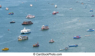 Top view of Many Floating Ships and Pleasure Boats in the Sea. Thailand. Pattaya