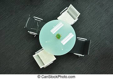Top view of meeting table