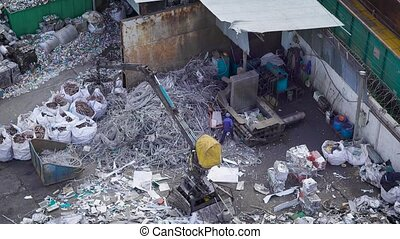 top view of metal garbage sorting in a junkyard of...