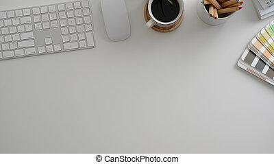 Top view of minimal designer workspace