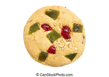 top view of mixed dried fruits cookie isolated on white