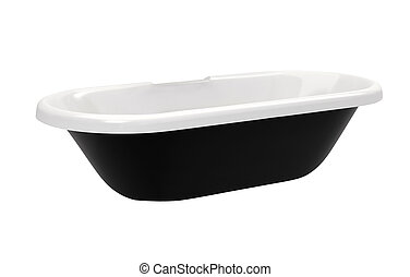 top view of modern black bathtub isolated on white background