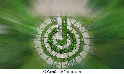 Top view of modern garden design in motion blur.