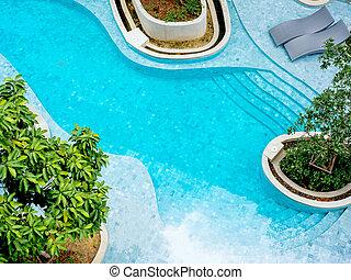 Top view of modern swimming pool.