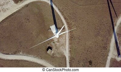 Top view of modern windmill - Aerial from above shot of...