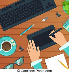 Top View of Modern Workplace, Wooden Desk with Hands Working with Digital Tablet, Keyboard, Notepad and Coffee Cup Flat Vector Illustration