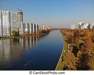 top view of Moscow Canal in Khimki, Russia - top view of the...