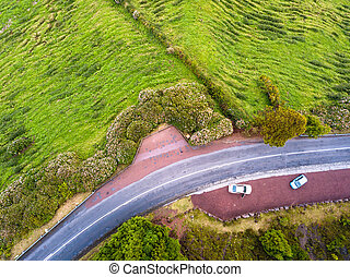 Top view of mountain road on Sao Miguel island, Azores - Portugal.